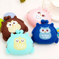 1pc NEW Girls Coin Purse Owl Bag Silicone Mini Wallet Change Purse Keyring Pouch