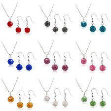 Women's Rhinestone Crystal Bead Disco Ball Necklace Earring Jewelry Set Beamy