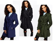 Womens Double Breasted Trench Mac Coat Ladies Fashion Long Belted Jacket SIZE