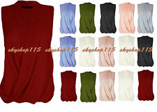 Womens Ladies Sleeveless Blouse Chiffon V Neck Wrap Front T Shirt Work Top wrkSh
