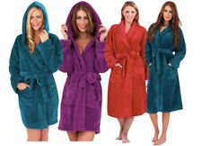 Ladies Super Soft Fleece Dressing Gown Robe Teal Purple Red Satin Trim Size 8-22