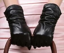 Women Genuine Leather Warm Winter Wrist Gloves Fleece Lining Wrinkles 11'' Black