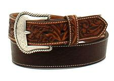 Ariat Western Mens Belt Leather Floral Embossed Round Concho Brown A1026602