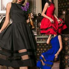 Womens 1950s Retro Wiggle Evening Cocktail Party Flare Mesh Formal Dress