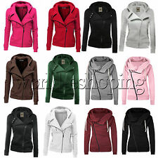 Womens Ladies Zipper Top Hoodie Hooded Sweatshirt Coat Jacket Casual Slim Jumper