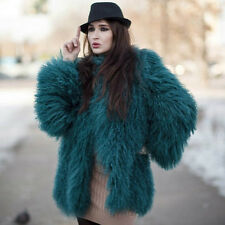 Real Women's MONGOLIAN Lamb Curly Fur Long Coat Smooth Deal With Jacket Bridal