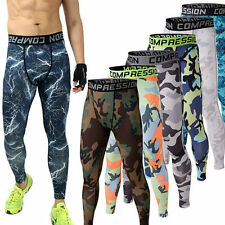 Mens Compression Long Pants Tights Stretch Sports Gym Fitness Print Trousers W90