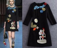 2016 autumn embroidery letter Rome soldier black dress runway pretty hot sale