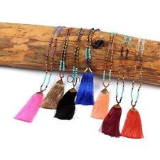 Boho Nylon Tassel Pendant Sweater Pearls Beads Long Chain Statement Necklace