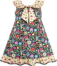 Girls Dress Bow Tie Yellow Floral Turn-Down Collar and Trim Size 4-10 US Seller