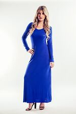 Womens Ladies Long Sleeve Bodycon Maxi Full Length Dress 8-26 in 9 colours