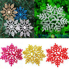 3Pcs Glitter Snowflake Christmas Festival Ornaments Xmas Tree Hanging Decoration