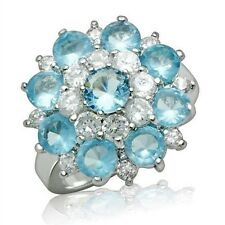 Silver Plated Simulated Topaz Deco Cocktail Ring Blue Cubic Zirconia Size 9 10