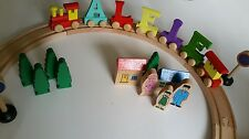 LUXURY DELUXE WOODEN PERSONALISED NAME TRAIN &TRACK ALPHABET LETTERS CHRISTMAS