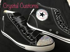 Ladies Bling Crystal Customised Black Converse Hi Tops Size 3 4 5 6 7 8