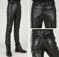 Mens Black faux Leather Pants Slim Fit Fashion Motorcycle Trousers straight leg