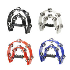 Hand Held Tambourine Double Row Metal Jingles Percussion 4 Colors