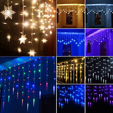 LED Icicle Hanging Snowflake String Lights Fairy Curtain Xmas Wedding Party Lamp