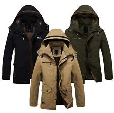 Mens winter Hooded Jacket Military Outerwear Warm Fur lined Long Coat Parka new