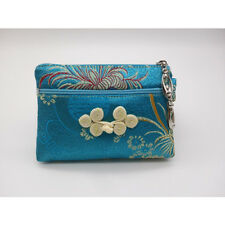 """SILK EMBROIDERED COIN PURSE 5"""" Small Change Wallet Pouch Bag Zipper"""