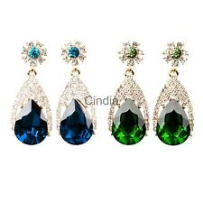 1Pair Women Girl Elegant Ear Stud Crystal Gemstone Sparkly Drop Earrings Jewelry