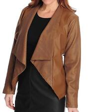 NEW - Pamela McCoy Faux Leather Perforated Accent Drape Front Jacket