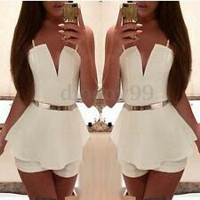 Sexy Women Strappy Chiffon Flared Jumpsuit Playsuit Romper Beach Mini Dress New