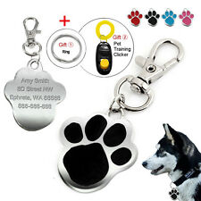 Cute Paw Print Engraved Dog Tags Disc Custom Cat ID Tag Free Engraving Gift