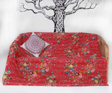 Indian Kantha Quilt Throw Reversible Cotton Vintage Bedding Gudri Bedspread