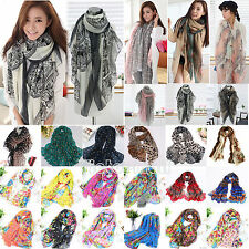 Womens Long Soft Chiffon Scarf Wrap Large Silk Winter Warmer Shawl Stole Scarves