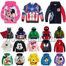 Kids Girls Boys Superman Mickey Hoodie Coat Jacket Sweatshirt Jumper Top Outwear