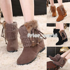 New Womens Winter Warm Knitted Wedge Snow Boots Casual Non-slip Ski Ankle Shoes
