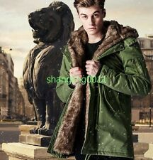 Mens Warm Winter Fur Coat Fur Lined Cotton Padded Military Thicken Jacket Coat