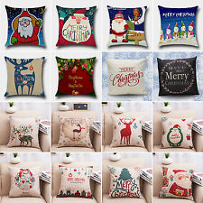 Christmas Xmas Santa Snowman Sofa Throw Cushion Pillow Cover Case Home Deco Gift