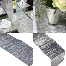 """112""""x118"""" Gold/Silver/Champagne Sequin Table Runner Sparkly Wedding Party Decor"""