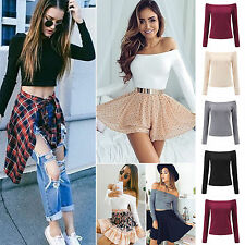 Fashion Womens Off Shoulder Shirt Long Sleeve Crop Belly Tops T-shirts Blouses