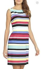 NEW! Tahari by ASL Striped Linen Blend Sheath Dress Multi Print $118 NWT