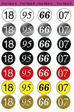 MG 6618 Series ~ Racing Number Roundels, 18 in. Diameter (4 Fonts / 7 Colors)