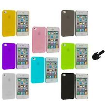 0.3mm Color Super Ultra Thin Hard Frost Case Skin+Mini Stylus for iPhone 4 4G 4S