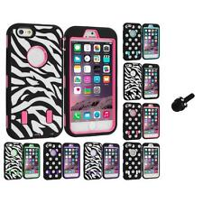For iPhone 6 PLUS Hybrid Cover Case Polka Dot Zebra Mini Stylus