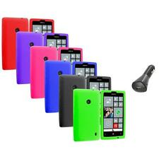 For Nokia Lumia 520 Silicone Soft Rubber Skin Case Cover Color+Car Charger