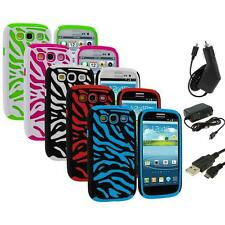 Hybrid Zebra Color Hard Soft Case Cover+3X Chargers for Samsung Galaxy S3 S III