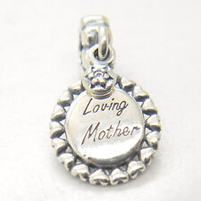 Authentic Genuine Sterling Silver Loving Mother Clear Cz Dangle Charm