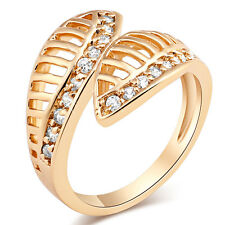 Fashion 18K Gold Filled Round CZ Thin Band 2 Fish Bride Ring Size 7 - 9