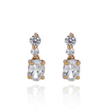 Cute Earings 14K Gold Filled Oval Black Crystal Ruby CZ Stud Earrings