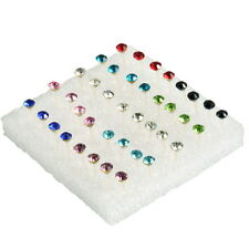 Fashion 1 Box of 20 Pairs Clear Crystal Ear Studs Earrings Allergy~FW