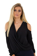 Womens Ladies Black Grace Draped Front Long Sleeve Floaty Casual Daytime Top UK