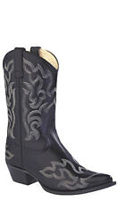Old West Black Womens Leather 10in Pointed Toe Cowboy Western Boots