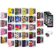 For Apple iPhone 6 (4.7) TPU Design Cover Case+3X Screen Protector+Car Charger