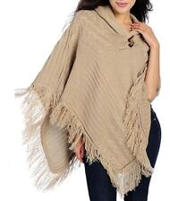 NEW OSO Casuals Mixed Stitch Knit Shawl Collar Fringe Detailed Uneven Hem Poncho